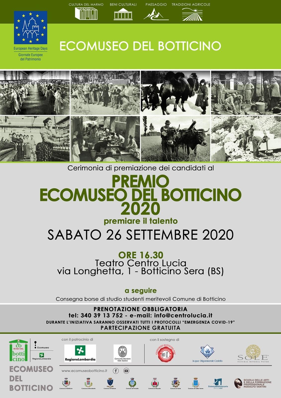 Premio Ecomuseo del Botticino 2020 e consegna borse di studio ad alunni meritevoli Comune di Botticino