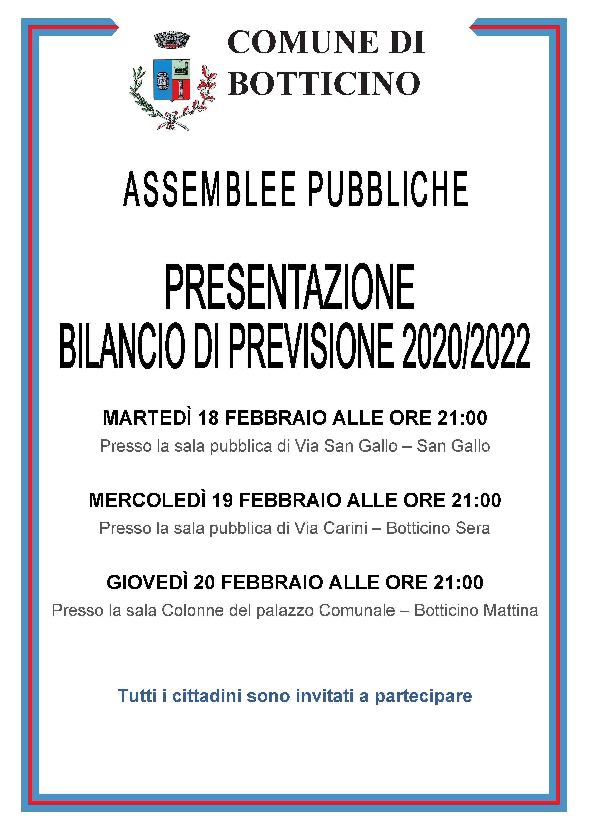 Assemblea pubblica - Presentazione bilancio di previsione 2020/2022