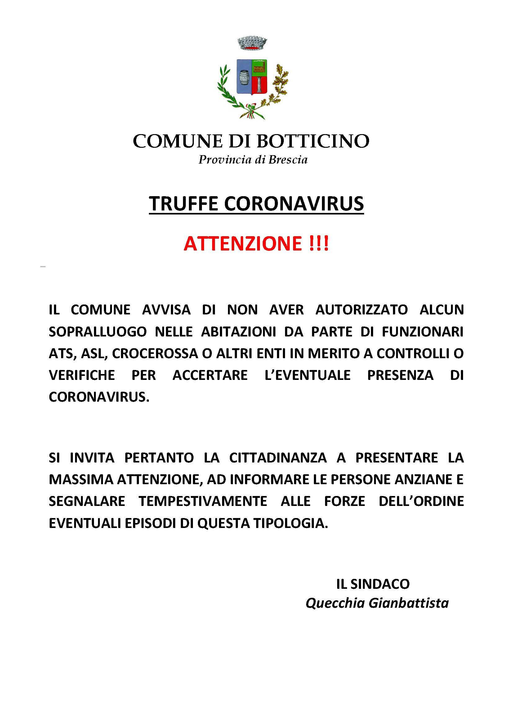 Coronavirus: Avviso per possibili truffe